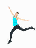 显示健身的性感的妇女移动,空白背景 库存图片