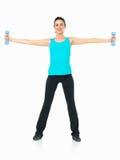 显示健身的性感的妇女移动,空白背景 图库摄影