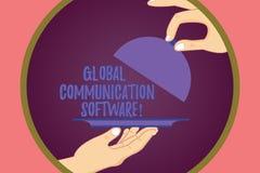 显示全球性通信软件的概念性手文字 企业照片陈列的方式连接显示  向量例证