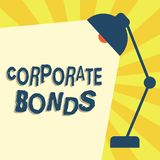 显示公司债券的文字笔记 提高原因品种的财务的企业照片陈列的公司  库存例证