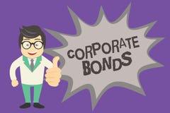 显示公司债券的文本标志 提高原因品种的财务的概念性照片公司  向量例证