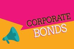 显示公司债券的文本标志 提高原因品种的财务的概念性照片公司  库存例证