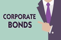 显示公司债券的文本标志 提高原因品种的财务的概念性照片公司  皇族释放例证
