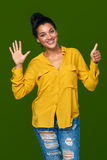 显示六个手指的妇女 库存图片