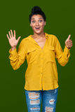显示六个手指的妇女 免版税图库摄影
