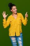 显示六个手指的妇女 免版税库存照片