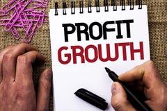 显示利润增长的文本标志 概念性照片财政成功由人Holdin增加了收支书面的演变发展 免版税库存照片