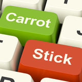 显示刺激的红萝卜或棍子钥匙由刺激或压力 库存照片