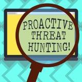 显示前摄威胁狩猎的文本标志 概念性对搜寻扩大化的照片被聚焦的和重复方法 向量例证