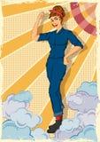 显示力量我们的减速火箭的妇女可以做IT 库存图片