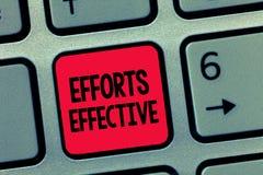显示努力的概念性手文字有效 企业照片文本根据期望目标目标导致结果 免版税库存图片