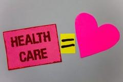 显示医疗保健的文本标志 概念性物理精神情况纸心脏均等si的照片医疗维护改善 免版税库存照片