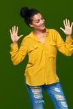 显示十个手指的妇女 免版税库存图片
