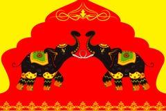 显示印地安文化的装饰的大象 库存照片