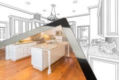 显示厨房图画的照片计算机片剂后边 库存照片