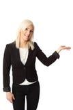 显示反对白色背景的女实业家 库存照片