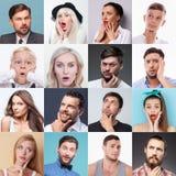 显示各种各样的情感的套另外人民 免版税库存照片