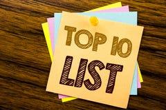 显示名列前茅10十的概念性手文字文本说明启发列出在稠粘写的成功十名单的企业概念 免版税库存照片