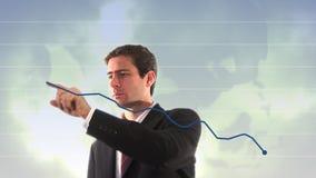 显示向上图表的商人储蓄英尺长度 股票视频