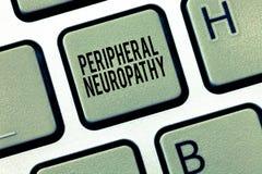 显示周边神经病的文本标志 概念性照片情况,损坏周围神经系统 库存图片