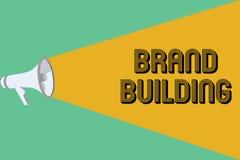 显示品牌大厦的概念性手文字 陈列企业的照片引起建立和提升公司的了悟 库存例证