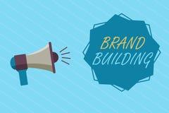 显示品牌大厦的概念性手文字 陈列企业的照片引起建立和提升公司的了悟 向量例证