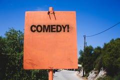 显示喜剧电话的概念性手文字 笑Wo的企业照片文本乐趣幽默讽刺情景喜剧欢闹耍笑的娱乐 免版税库存图片