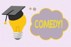 显示喜剧的文本标志 概念性照片专业娱乐笑话剪影使观众笑幽默 库存例证