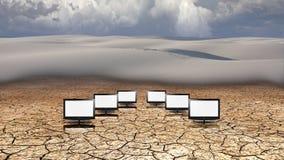 显示器在沙漠 库存例证