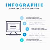 显示器,计算机,硬件线象有5步介绍infographics背景 库存例证