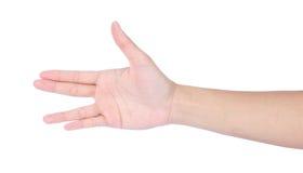 显示四个手指的女性现有量 免版税库存照片