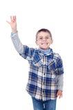 显示四个手指的男孩 库存照片