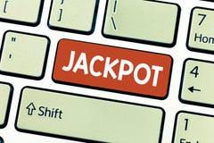 显示困境的概念性手文字 陈列在比赛抽奖大奖赌博的企业照片大现金奖相关 免版税库存图片