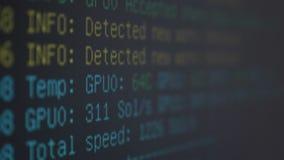 显示在个人计算机屏幕上的ethereum采矿的隐藏货币软件过程- 股票视频