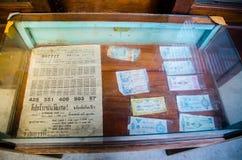 显示在古色古香的博物馆`禁令轰隆Khen `的葡萄酒老泰国抽奖收藏 库存照片