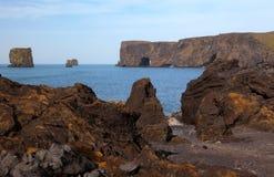 在摇滚冰岛海岸的孔 免版税库存照片
