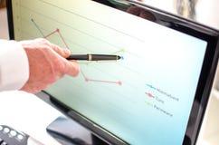 显示在屏幕上的商人一张图表有笔的 免版税库存图片