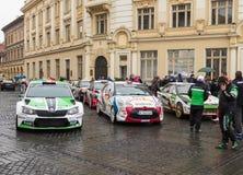 显示在正方形的赛车在大正方形在锡比乌市在罗马尼亚 免版税库存图片