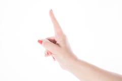 显示在白色的女性手注意标志 免版税库存照片