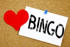 显示在的概念性手文字文本说明启发赢取价格成功和爱writte的赌博上写字宾果游戏概念 免版税图库摄影