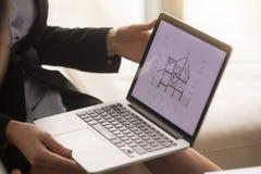 显示在膝上型计算机屏幕上的女性房地产开发商房子计划 库存照片