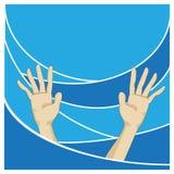 显示在蓝色海的手 图库摄影