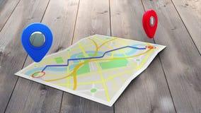显示在镇的地图的红色标志方式 向量例证