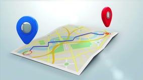 显示在镇的地图的红色标志方式 皇族释放例证