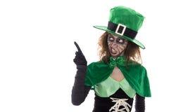 显示在copyspace的绿色妖精女孩,在白色 免版税库存照片