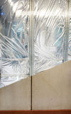 显示墙壁froy consrtuction的绝缘材料,被真空加热的Aer层数  免版税库存图片