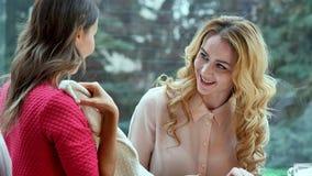 显示她全新的衣裳的美丽的少妇对她的朋友,当坐的两个在咖啡馆时 免版税图库摄影