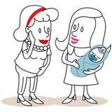 显示她新出生的婴孩的动画片母亲对朋友 库存图片