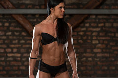 显示她训练有素的身体的内衣的妇女 库存图片