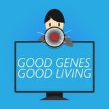 显示好基因好生活的文字笔记 陈列在长寿的企业照片被继承的基因结果健康 库存例证